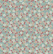 Lewis & Irene Flo's Little Flowers - 5007 - Ditsy Floral, Peach, Red, Yellow on Pale Blue - FLO5-2 - Cotton Fabric
